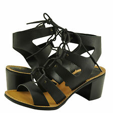 Women's Shoes Bamboo Hanson 16V Caged Lace Up Chunky Heel Sandal Black *New*