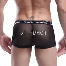 Sexy Mens Mesh Boxer Briefs Shorts pants Underwear Stretch Pouch Trunk Underpant
