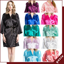 Women solid robe Silk Satin Robes Wedding Bridesmaid Bride Gown kimono robe 002