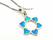 Blue Opal STAR OF DAVID Pendant 925 Sterling Silver Chain Necklace Judaica Charm