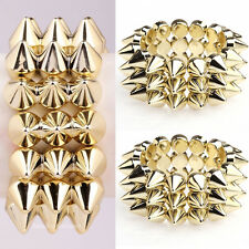 Fashion Gothic Punk Rock Golden Spike Rivet Elasticity Bracelets Hot!