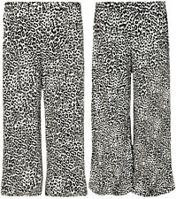 Womens Plus Size Animal Print Palazzo Trousers Ladies Wide Flared Pants 12 - 26