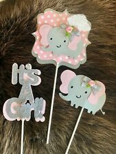 Elephant centerpieces/ Pink and Gray centerpieces/ Elephant theme/ It's a Girl