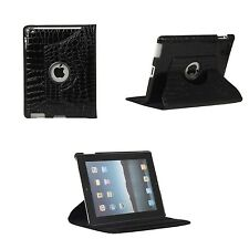 BLACK CROCODILE LEATHER 360 DEGREE ROTATING CASE FOR IPAD 2 3 4 WITH SLEEP WAKE