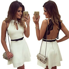 Women Sexy Bodycon Cut-Out Lace Backless Crew Neck Clubwear Mini Dress With Belt