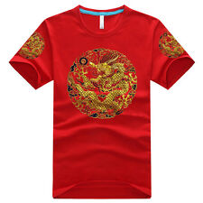 ORIENTAL COOL! 100% COTTON CALICO T-SHIRT: CHINESE ROYAL DRAGON ROBE STYLE