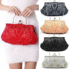 Fashion Clutch Handbag Ring Evening Bag Pearl Sequins Chain Wedding Party Purse