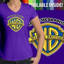 If You See Da Police Warn A Brother Parody Womens Juniors Top Tee V-Neck T-Shirt