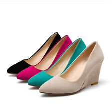 AU Size Pointed Wedge High Heel Lady Shoes Faux Suede Comfort Women Shoes s713