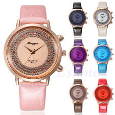 Fashion Women Stainless Steel Leather Band Sport Crystal Dial Dress Quartz Watch