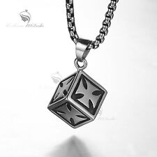 Silver cross cube pendant 316L stainless steel chain necklace