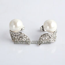 B1-E866 Fashion Rhinestone White Pearl Stud Earrings 18KGP Crystal
