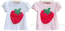 New Baby Toddler Girl Strawberry Rosette Pettitop T-shirt size1.2.3.4.5.6