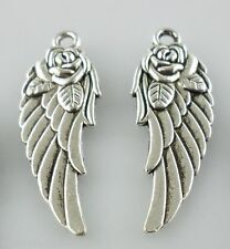 8/16/120pcs Tibetan Silver Angel Wings Rose Flower Charms Pendants 11.5*31mm