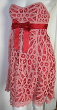 Betsey Johnson pink red strapless cocktail party lace dress NEW sz 8