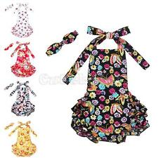 Infant Girl Baby Floral Romper Jumpsuit Dress +Headband Outfit Set Sunsuit 0-24M