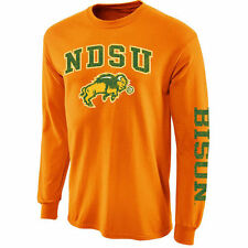New Agenda NDSU Bison Yellow Distressed Arch & Logo Long Sleeve T-Shirt