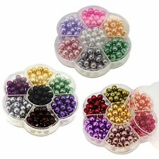 Wholesale Lot Glass Faux Pearl Beads 7 Color Box Set 4mm 6mm 8mm Free Shipping