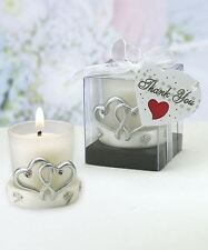 Set of 6 Interlocking Silver Heart Design Candle Holder Wedding & Party Favours
