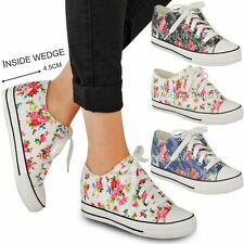 Womens Ladies Wedge Platforms Skate Trainers Lace Up Sneakers Pumps Casual Size