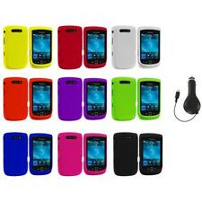 Color Hard Rubberized Cover Case+RET Charger for Blackberry Torch 9800 9810