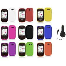 For Samsung Gravity Q Hard Snap-On Rubberized Case Cover Accessory+Ret Charger