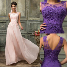 Long Chiffon Lace Bridesmaid Evening Formal Party Ball Cocktail Gown Prom Dress