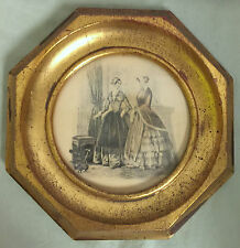 Vintage Octagon Shaped Frame Photograph Print or Pencil Drawing 2 Women and Dog
