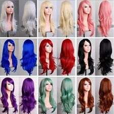Anime Long Curly Layer Full Head Wigs Cosplay Party Fancy Dress Black Wine Red C