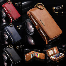 Genuine Leather Removable Wallet Flip Card Case Cover for Apple iPhone 6 6S Plus