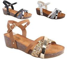 Womens Ladies Cork Wedge Strappy Shoes Slingback Peep Toe Wedge Sandals