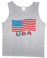 Men's tank top USA American flag July 4th patriotic muscle tee sleeveless shirt