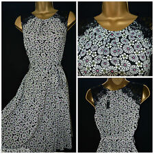 NEW TEA DRESS BLACK WHITE PINK FLORAL DAISY RETRO VTG 40'S PLUS SIZE 8 - 20