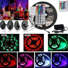 SMD RGB 3528 5050 Flexible LED Strip Light +IR Remote +Power Adapter 300/600LEDs