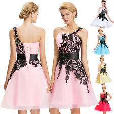 One Shoulder Lace Bridesmaid Prom Gown Ball Evening Formal Party Cocktail Dress