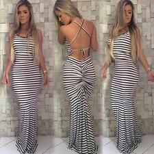 Sexy Womens Summer Striped Beach Boho Party Evening Maxi Long Dress Sundress Hot
