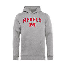Ole Miss Rebels Youth Ash Proud Mascot Pullover Hoodie