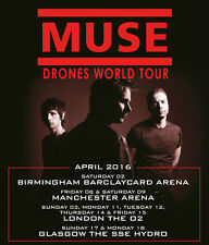 MUSE Drones 2016 UK World Arena Tour A4 260gsm poster print