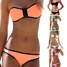 2016 Women Sexy Bikini Swimsuit Set Strapless Zipper Bra Swimwear Bathing Suit