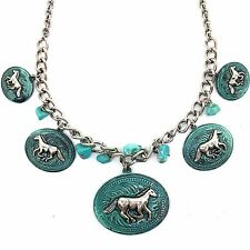 Western Cowgirl Gun Horse Longhorn Patina Silver Charms Necklace Earring Set