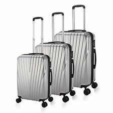 20/24/ 28'' Silver Hard 4 Wheels PC Luggage  Stripe Rotating Spinner Suitcase