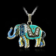 Crystal Colorful Necklace Cute Elephant Retro Fashion Sweater Chain Pendant Hot