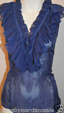 NWT GUESS by Marciano 100% Luxury Silk Sheer Blouse Ruffle Shirt Blue Size L