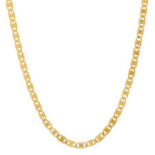 2.3mm Thin Unisex Gold-Plated Fancy Textured Mariner Link Chain Necklace
