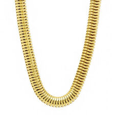 Men's 6 1/2 mm Yellow Gold Plated 14k Overlay Rounded Serpent Snake Neck Chain