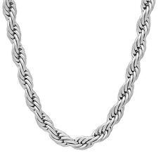 Men's 6 mm 316L Solid Stainless Steel French Rope Neck Chain Twisted Necklace