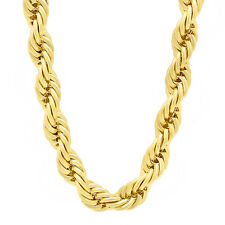 8mm Wide Men's Heavy 14k Gold Plated Solid Rope Link Chain Hip Hop Necklace