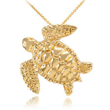 14k Fine Yellow Gold Turtle Lucky Hawaiian Honu Sea Pendant Necklace