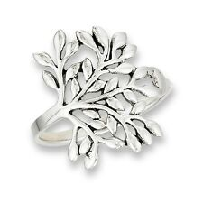 Detailed Sterling Silver Branching Tree of Life Motif Celtic Ring Size 6-9
