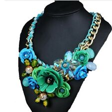 European Big Brand Ornament Crystal Flower Woman Necklace Woman Short Sweater Ne